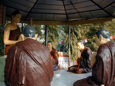 IMAGES OF BUDDHA'S FIRST DHARMA TALK SARNATH INDIA