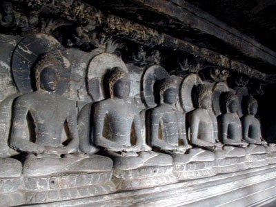 BUDDHA STATUES ELLORA CAVES INDIA