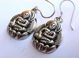 Attractive Tibetan Buddha Sterling Silver Earrings II