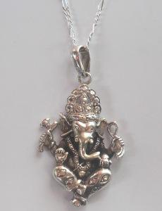Handmade Pendant 92.5 Sterling Silver Pendant Ganesha Pendant Hindi Letters Pendant Hindu Prosperity God Ganesha Hindi Letters Pendant