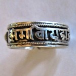 NARROW 92.5 PURE STERLING SILVER TIBETAN BUDDHIST MANTRA RING