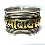 OM MANI TIBETAN BUDDHIST 92.5 STERLING SILVER & GOLD MANTRA RING