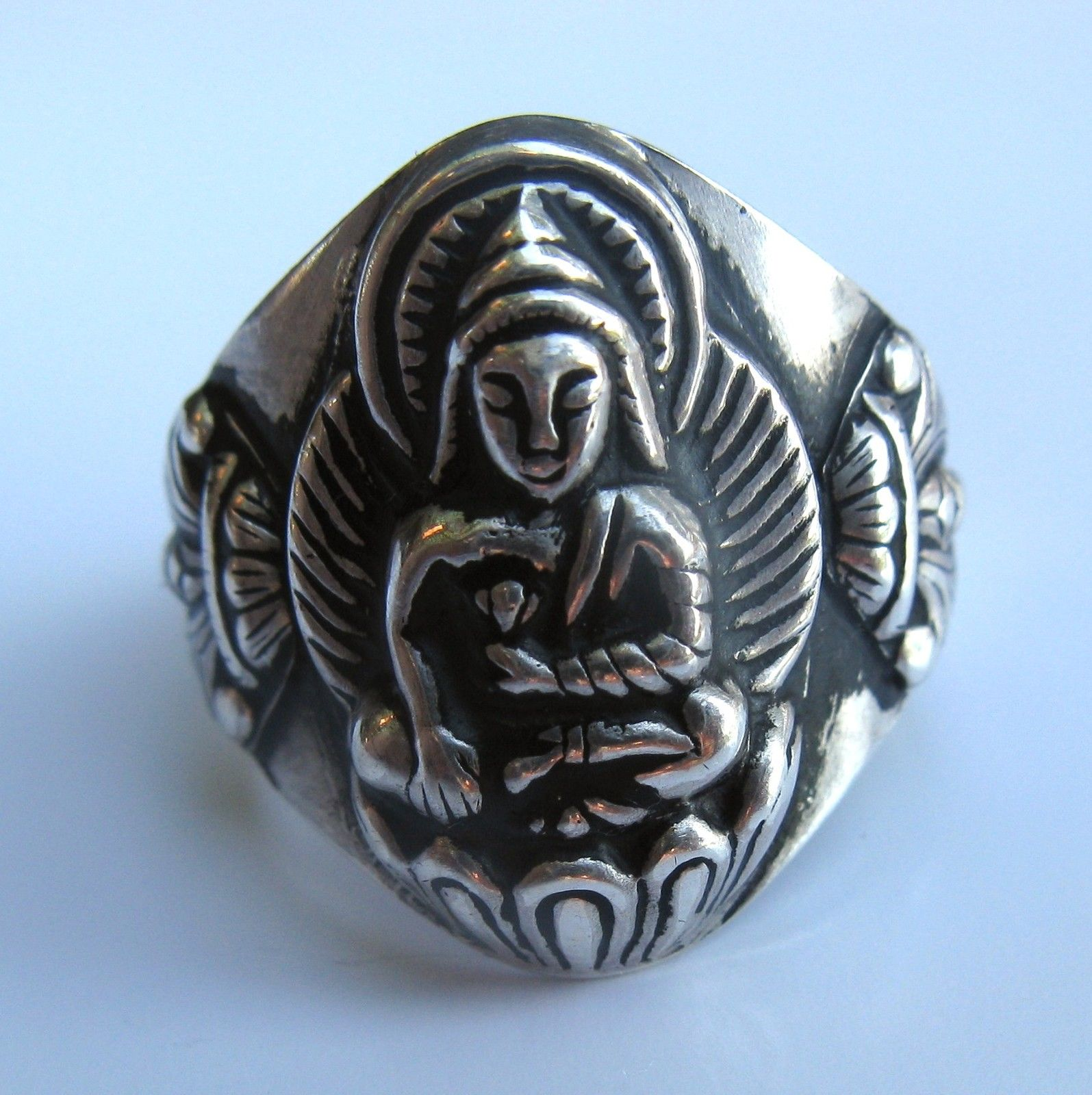 Pure Sterling Silver Tibetan Bhumisparsha Mudra Earth Touching Buddha Ring II