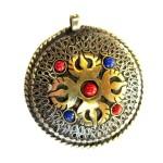Tibetan Buddhist Copper Brass Filigree Vajra OM Two Sided Mantra Pendant