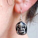 Tibetan Buddhist Sri Ganesh Elephant Deity Sterling Silver Earrings