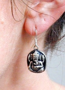 Tibetan Buddhist Sri Ganesh Elephant Deity Sterling Silver Earrings
