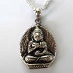 Tibetan Buddhist Sterling Silver Buddha 18 Necklace
