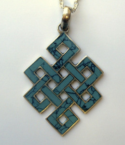 Tibetan Buddhist Sterling Silver Turquoise Endless Knot Pendant