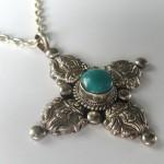 Tibetan Buddhist Turquoise Sterling Silver Dorje Vajra Necklace 3