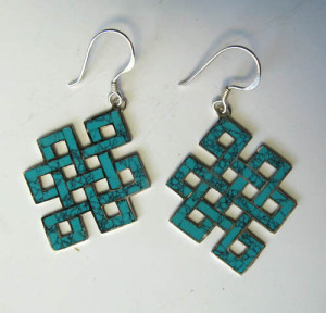 Tibetan Sterling Silver & Turquoise ENDLESS KNOT Sacred Buddhist Symbol Earrings