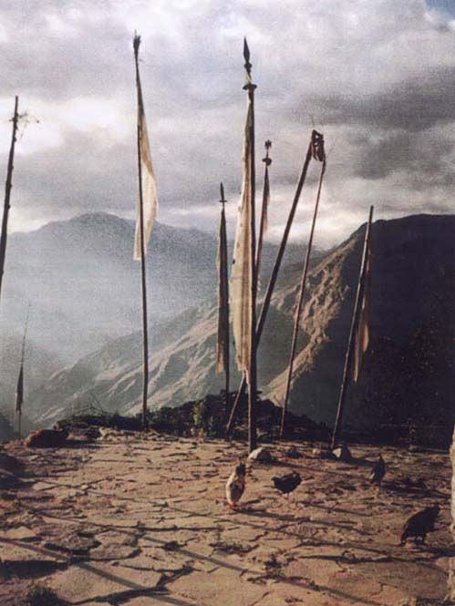 TIBETAN PRAYER FLAGS at HIMALAYAN SHRINE