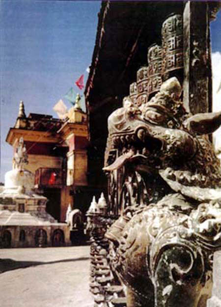 Swayambhu Temple Lion Guards the Prayer Wheels