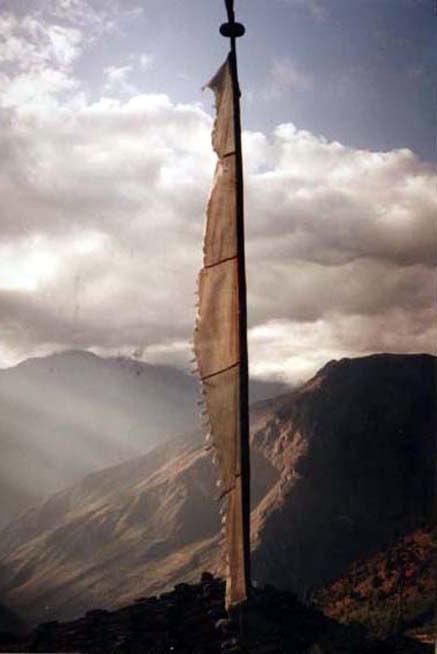 PRAYER FLAG ON HIMALAYAN PLATEAU