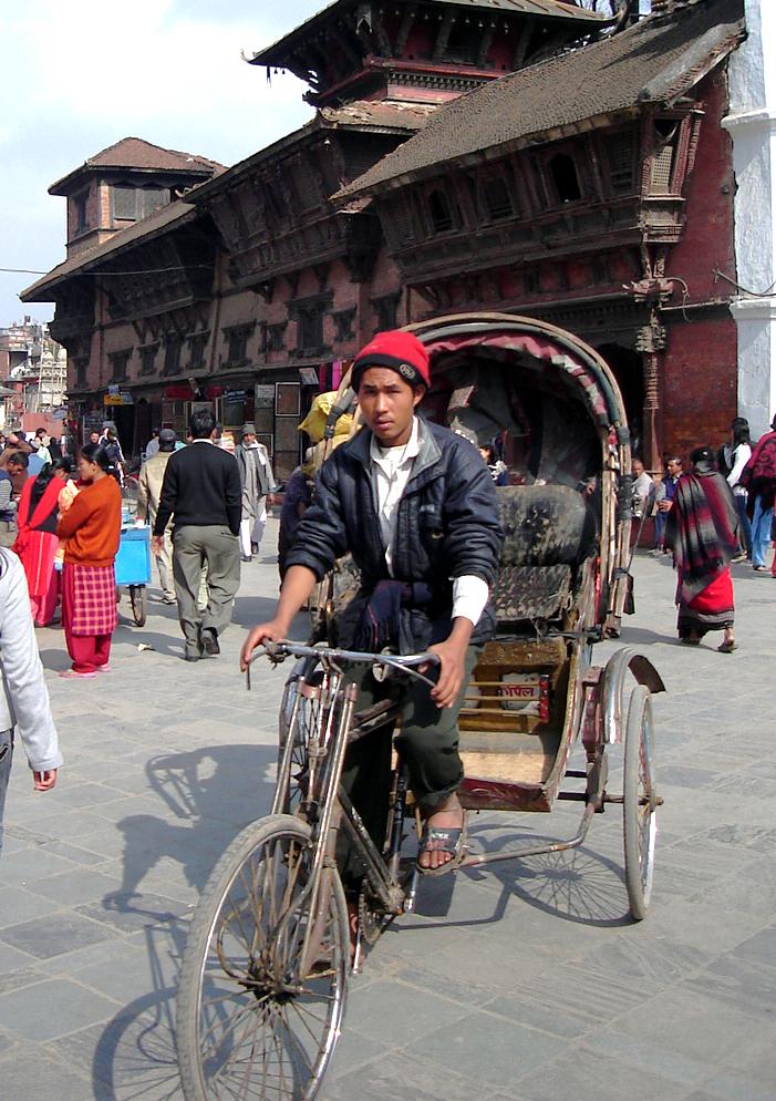 BICYCLE RICKSHA DURBAR SQUARE PALACE KATHMANDU