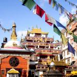 PRAYER FLAGS OF TIBETAN TEMPLE MONASTERY