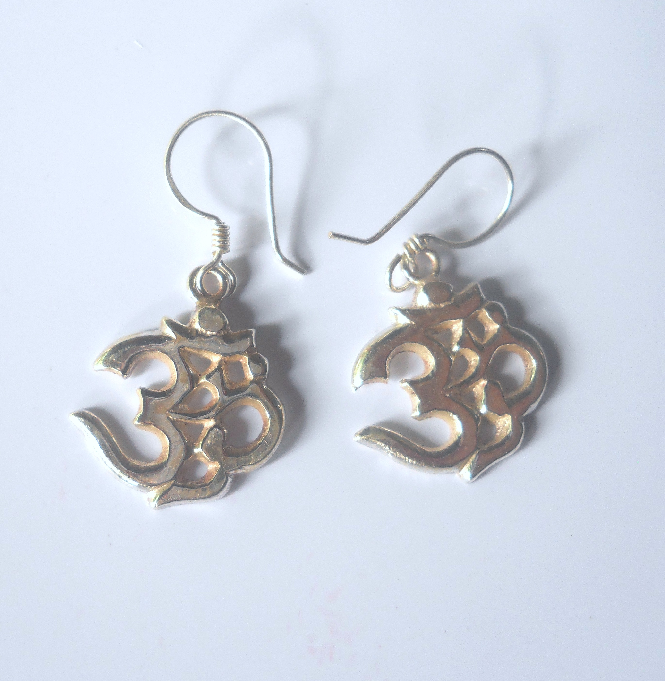 Medium Tibetan Buddhist OM Sterling Silver Earrings
