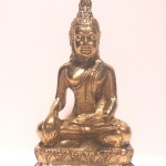Tibetan Earth Touching Buddha Deity Golden Statue