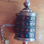 MEDIUM TIBETAN COPPER & BRASS PRAYER WHEEL w MANTRAS & GEMSTONES IV