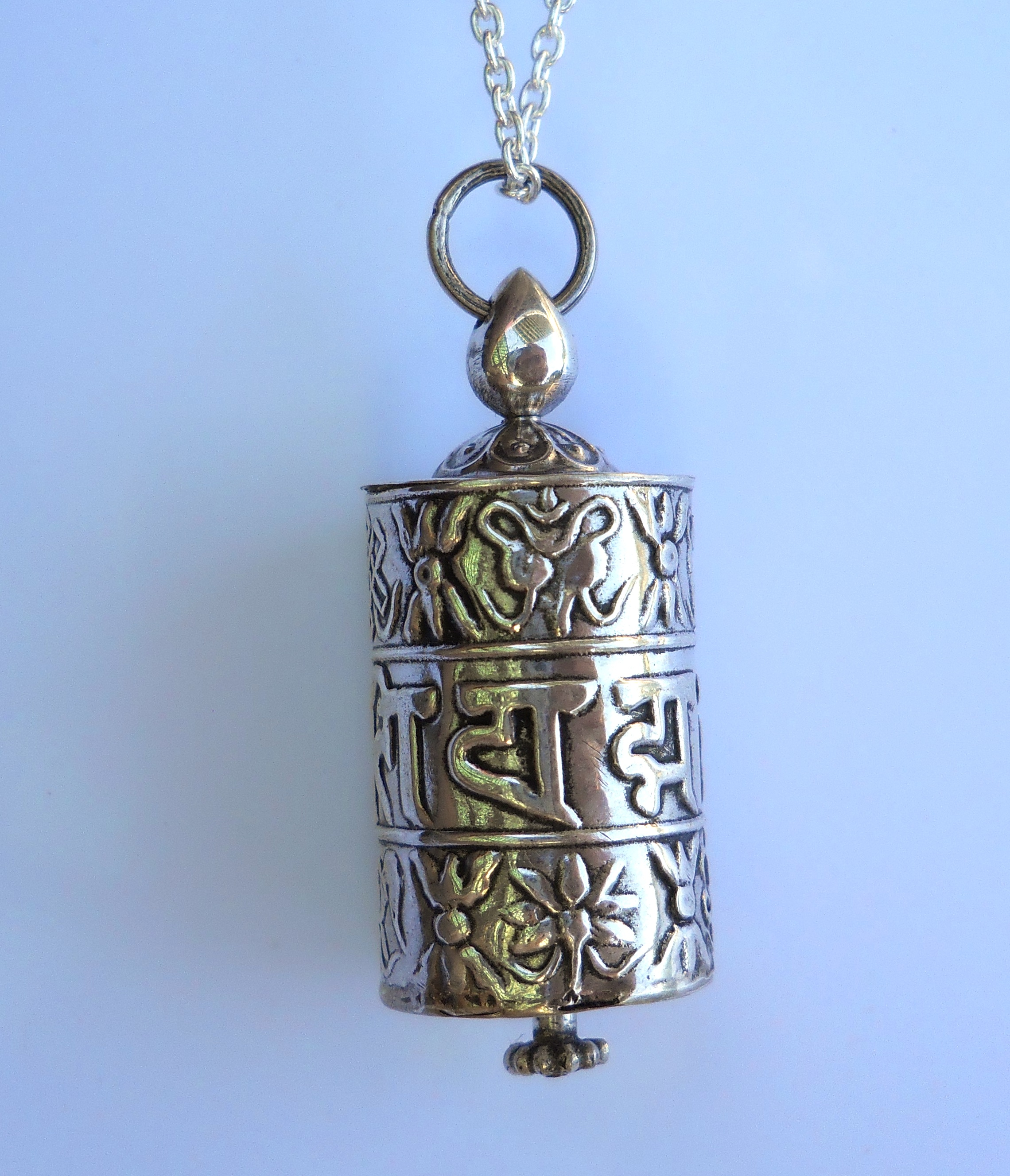 Sterling silver tibetan prayer wheel necklace the himalayan traders sterling silver tibetan prayer wheel necklace mozeypictures Gallery