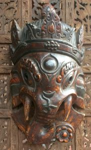 Small Wood Ganesh Mask