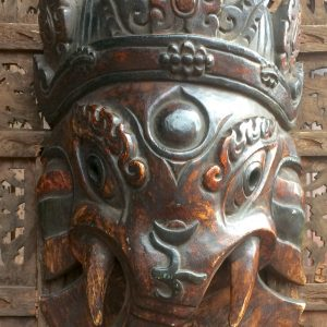 Small Wood Ganesh Mask